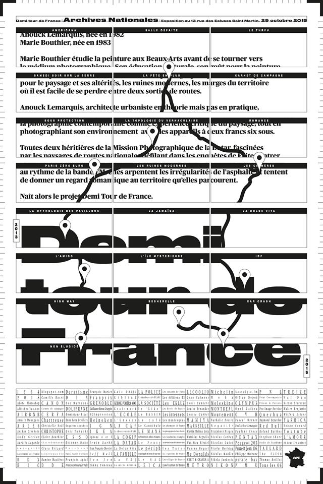 """<a href=""""https://www.facebook.com/kaisdhifi?fref=ts"""">Kais Dhifi</a> © X Demi Tour de France, Archives Nationales,<strong> poster 100x150 cm</strong>, exemplaire unique, ni à vendre ni à donner, full typo, Noir, blanc et le TURFU! """""""